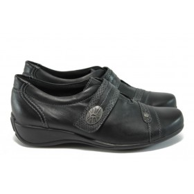 Равни дамски обувки - естествена кожа в съчетание с еко-кожа - черни - EO-9151