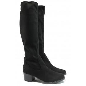 Дамски ботуши - висококачествен еко-велур - черни - EO-9169