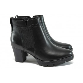 Дамски боти - естествена кожа - черни - EO-9255
