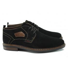 Мъжки обувки - естествен велур - черни - EO-9287