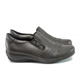 Равни дамски обувки - естествена кожа - сиви - EO-9288