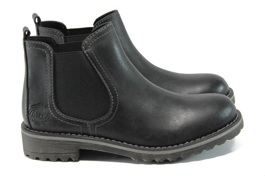 Дамски боти - висококачествена еко-кожа - черни - EO-9321