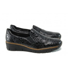 Равни дамски обувки - еко кожа-лак - черни - EO-9322