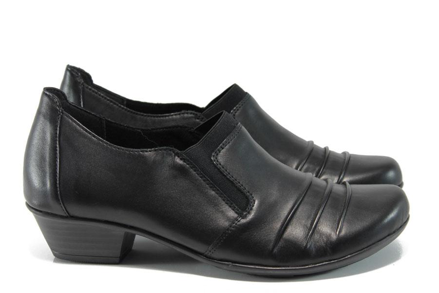 Дамски обувки на среден ток - естествена кожа - черни - EO-9400