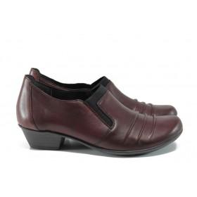 Дамски обувки на среден ток - естествена кожа - бордо - EO-9456