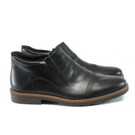 Мъжки боти - естествена кожа - черни - EO-9508