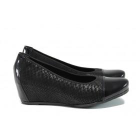 Дамски обувки на платформа - естествена кожа - черни - EO-9530