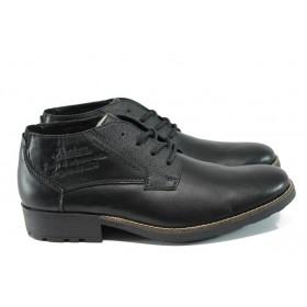 Мъжки боти - естествена кожа - черни - EO-9536