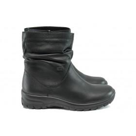 Дамски боти - естествена кожа - черни - EO-9554
