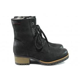 Дамски боти - естествена кожа - черни - EO-9627