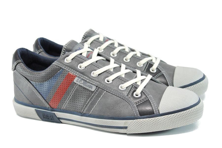 Спортни мъжки обувки - висококачествена еко-кожа - сиви - EO-9796