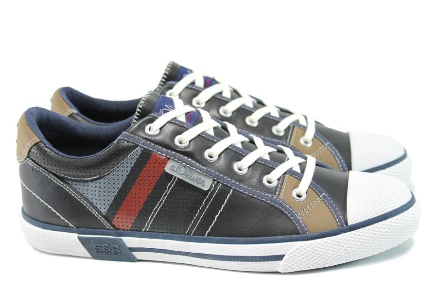 Спортни мъжки обувки - висококачествена еко-кожа - тъмносин - EO-9798