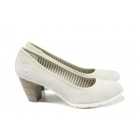 Дамски обувки на среден ток - висококачествена еко-кожа - сиви - EO-9801