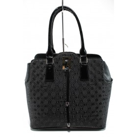 Дамска чанта - висококачествена еко-кожа - черни - EO-9967