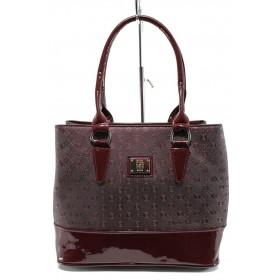 Дамска чанта - висококачествена еко-кожа - бордо - EO-9973