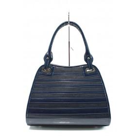 Дамска чанта - висококачествена еко-кожа в съчетание с еко кожа-лак - сини - EO-9979