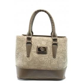 Дамска чанта - висококачествена еко-кожа - бежови - EO-9975