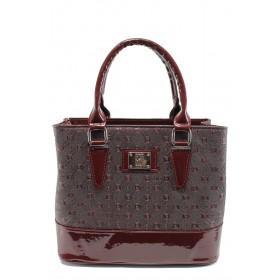 Дамска чанта - висококачествена еко-кожа - бордо - EO-9977