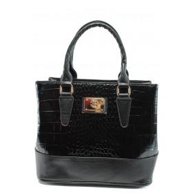 """Дамска чанта - еко-кожа с """"кроко"""" мотив - черни - EO-9978"""