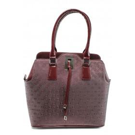 Дамска чанта - висококачествена еко-кожа - бордо - EO-9968
