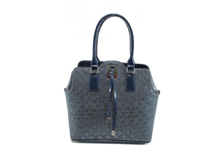 Дамска чанта - висококачествена еко-кожа - сини - EO-9969