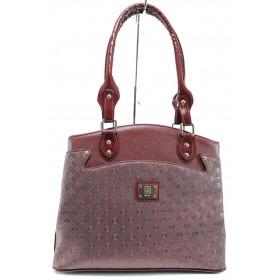Дамска чанта - висококачествена еко-кожа - бордо - EO-9971