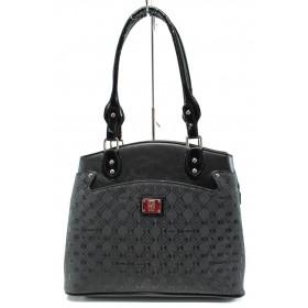 Дамска чанта - висококачествена еко-кожа - черни - EO-9972