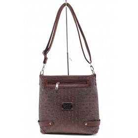 Дамска чанта - висококачествена еко-кожа - бордо - EO-9990