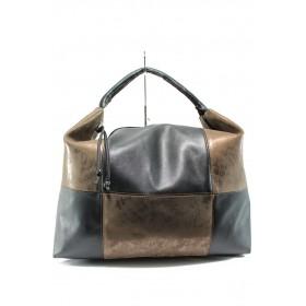 Дамска чанта - висококачествена еко-кожа - черни - EO-10118
