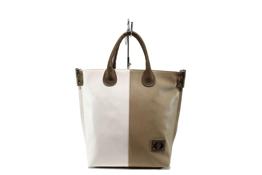 Дамска чанта - висококачествена еко-кожа - бели - EO-10461