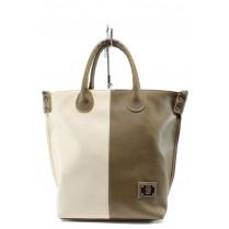 Дамска чанта - висококачествена еко-кожа - бежови - EO-10462