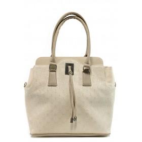 Дамска чанта - висококачествена еко-кожа - бежови - EO-10856