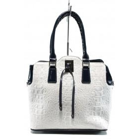Дамска чанта - висококачествена еко-кожа - бели - EO-10857
