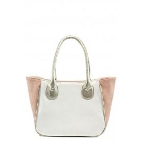 Дамска чанта - висококачествена еко-кожа - бели - EO-10859