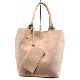 Дамска чанта - висококачествена еко-кожа - розови - EO-10871