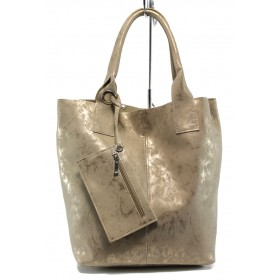 Дамска чанта - висококачествена еко-кожа - бежови - EO-10872