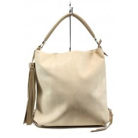Дамска чанта - висококачествена еко-кожа - бежови - EO-10870