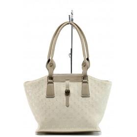 Дамска чанта - висококачествена еко-кожа - бежови - EO-10917