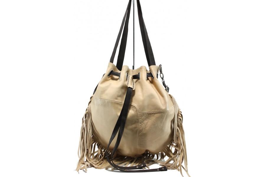 Дамска чанта - естествена кожа - бежови - EO-11045