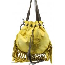 Дамска чанта - естествена кожа - жълти - EO-11047