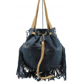 Дамска чанта - естествена кожа - сини - EO-11046