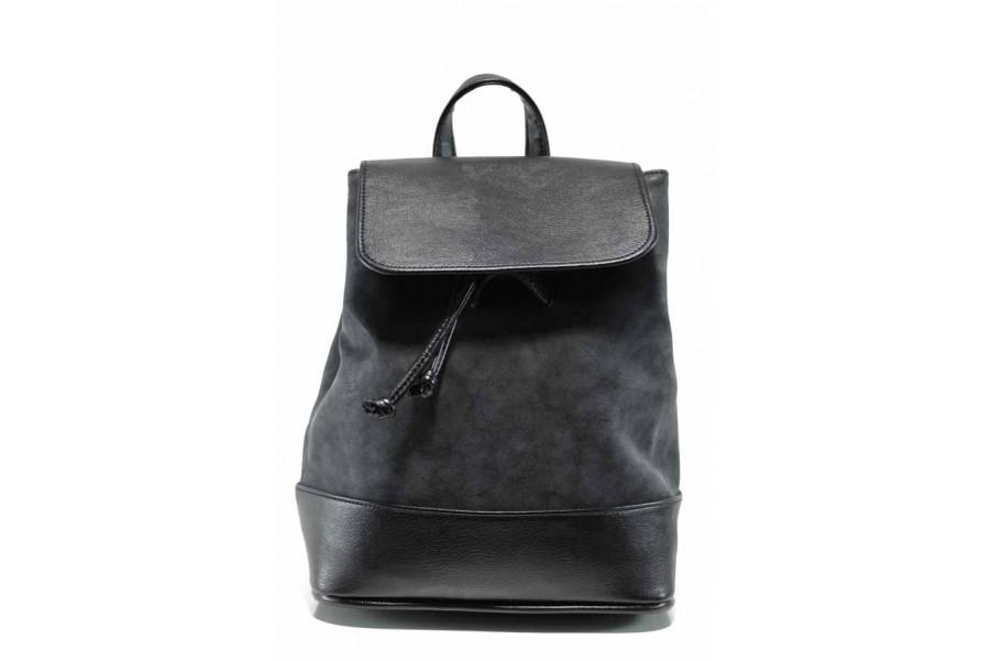 Дамска чанта - висококачествена еко-кожа - черни - EO-11573
