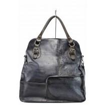 Дамска чанта - естествена кожа - сини - EO-11616
