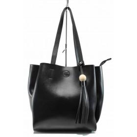 Дамска чанта - висококачествена еко-кожа - черни - EO-11618
