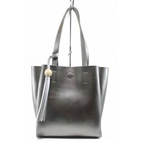 Дамска чанта - висококачествена еко-кожа - сиви - EO-11619