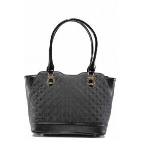 Дамска чанта - висококачествена еко-кожа - черни - EO-11984