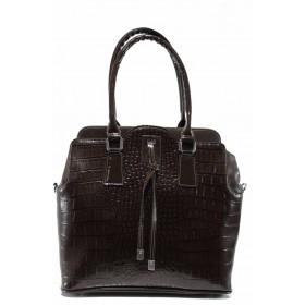 """Дамска чанта - еко-кожа с """"кроко"""" мотив - кафяви - EO-11991"""
