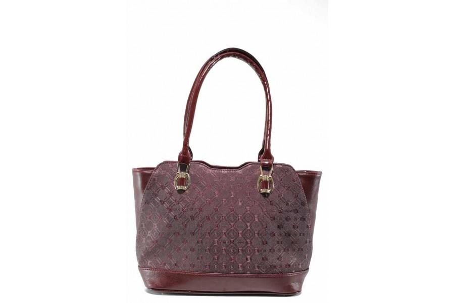 Дамска чанта - висококачествена еко-кожа - бордо - EO-11988