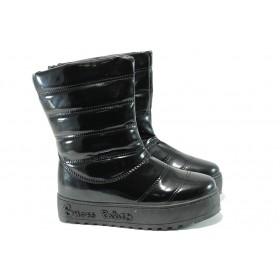 Дамски боти - еко кожа-лак - черни - EO-9807