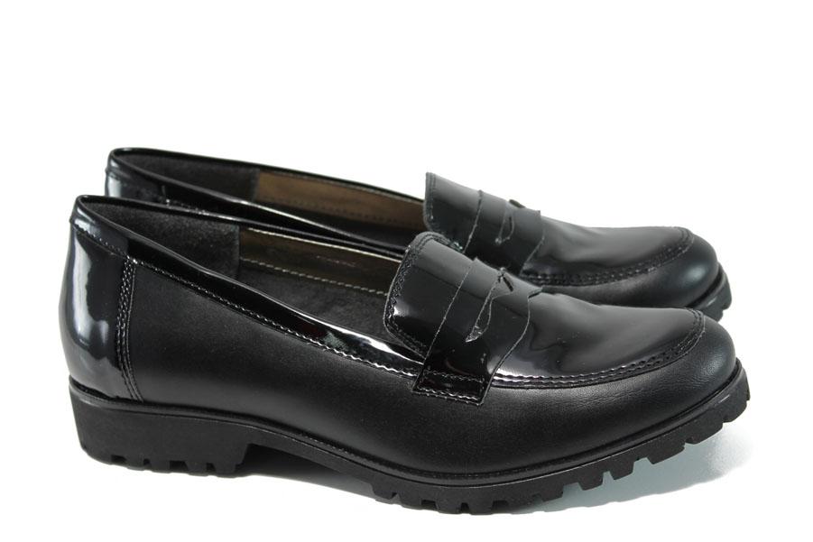 Равни дамски обувки - естествена кожа-лак - черни - EO-9908